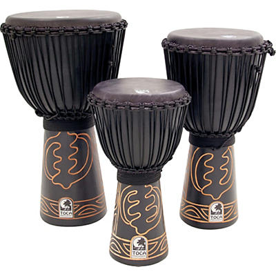 Toca Synergy Black Mamba Djembe with Bag and Djembe Hat