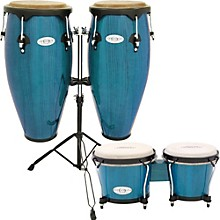 Synergy Conga Set with Stand and Bongos Blue