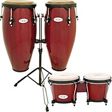Synergy Conga Set with Stand and Bongos Red