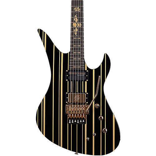 Schecter Guitar Research Synyster Gates Custom-S Electric Guitar Gloss Black with Gold Pinstripe