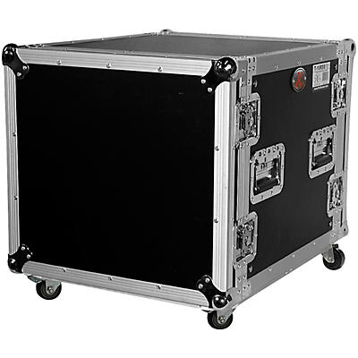 "ProX T-10RSS 10U 10-Space Amp Rack Mount ATA Flight Case 19"" Depth with Casters"