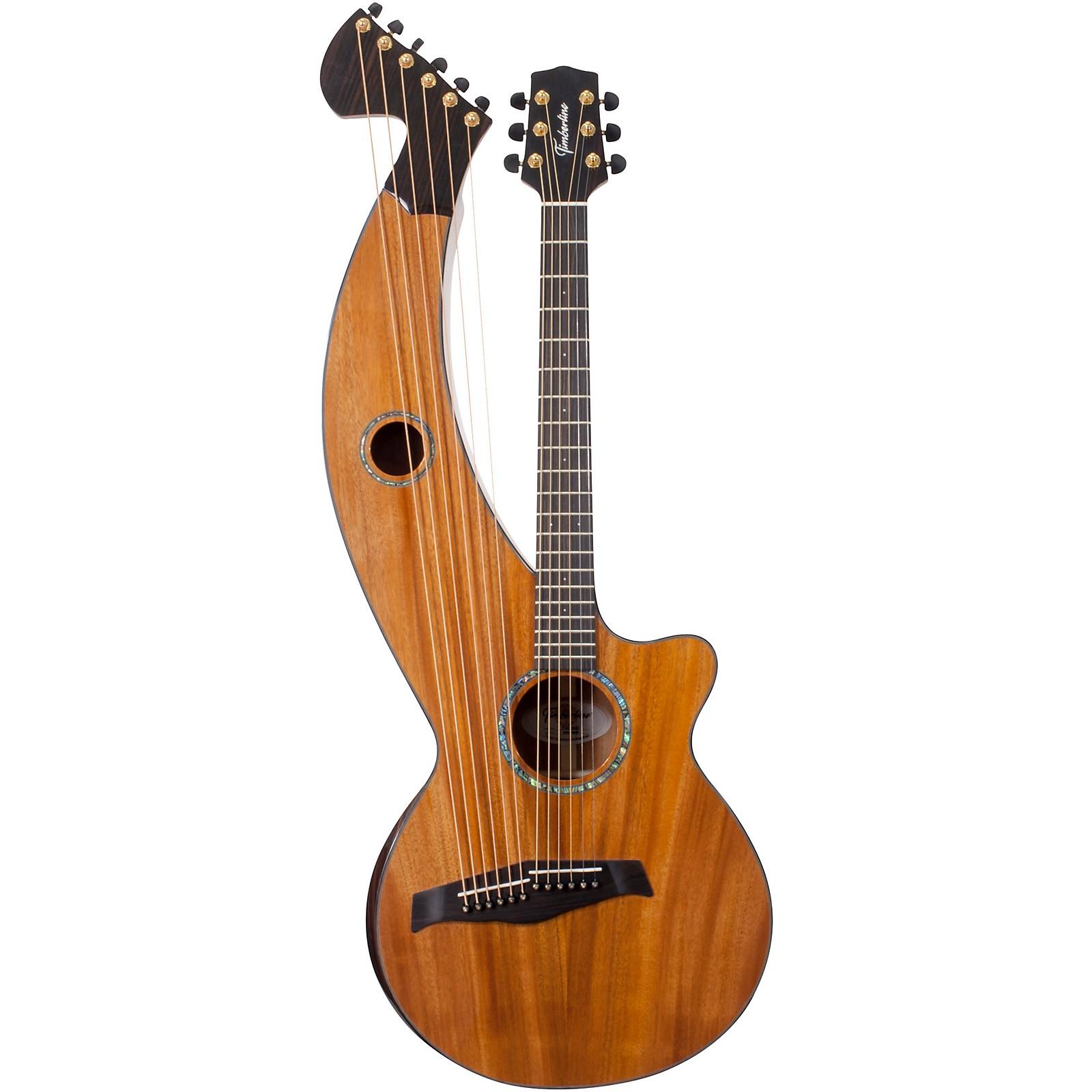 Timberline Guitars T30HGc Solid Tropical Mahogany 12-String Cutaway Acoustic Harp Guitar