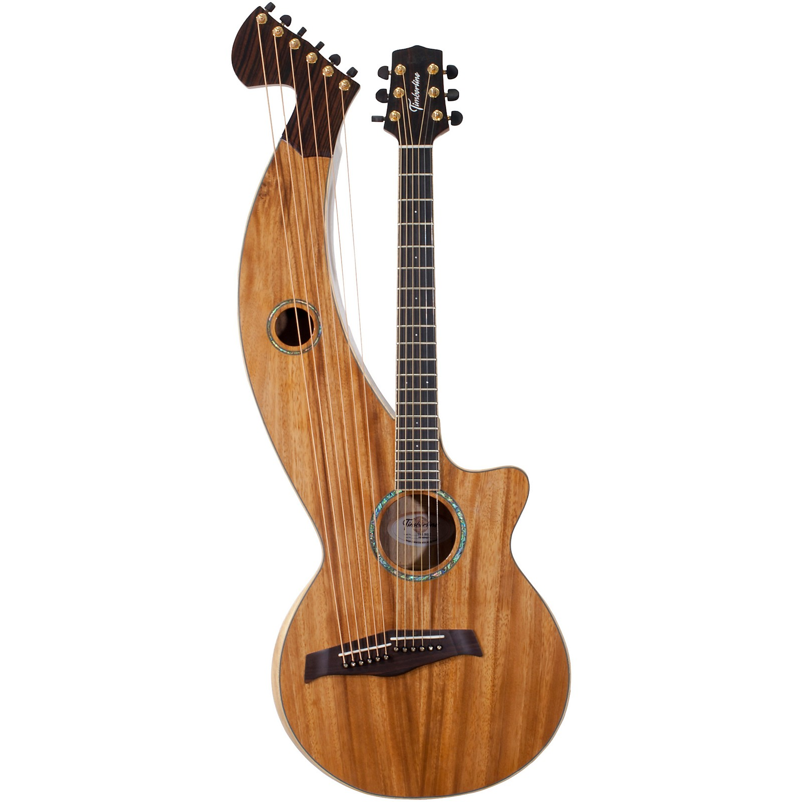 Timberline Guitars T60HGc Solid Tropical Acacia 12-String Cutaway Acoustic-Electric Harp Guitar