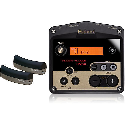 roland tm 2 drum trigger module with 2 bt 1 bar trigger pads musician 39 s friend. Black Bedroom Furniture Sets. Home Design Ideas