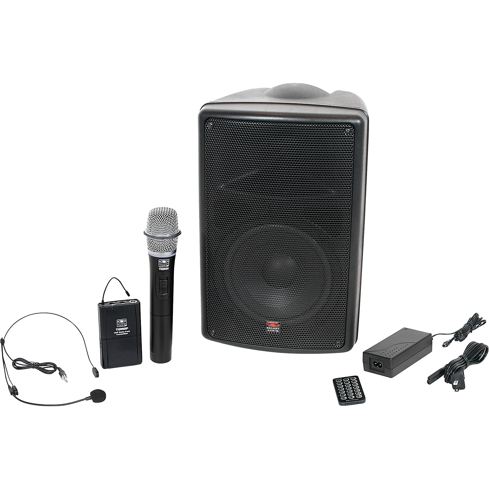 Galaxy Audio TQ8-24HSN Traveler Quest 8 All-In-One Portable PA System With Two Receivers, One Handheld Microphone, and One Headset Microphone