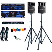 Open BoxVocoPro TWIN BANK PRO-PLUS Digital DJ Karaoke System with Powered Speakers and Stands