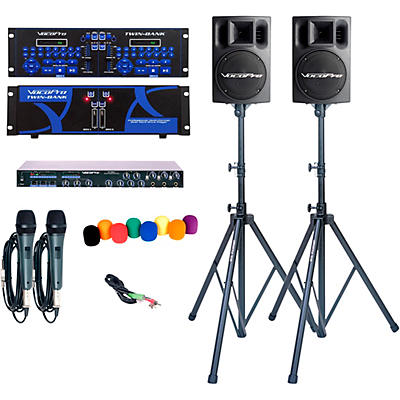 Vocopro TWIN BANK PRO-PLUS Digital DJ Karaoke System with Powered Speakers and Stands