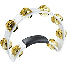 Tambourine with Brass Jingles White 9.5 In