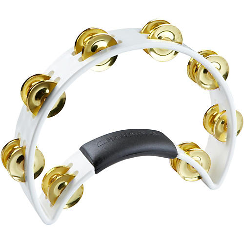 Rhythm Tech Tambourine with Brass Jingles White 9.5 In