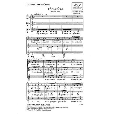 Editio Musica Budapest Tancnota (Dancing Song) SSA Composed by Zoltán Kodály