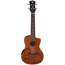 Open BoxLuna Guitars Tattoo Mahogany Concert Acoustic-Electric Ukulele