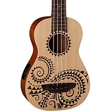 Open Box Luna Guitars Tattoo Ukulele Acoustic-Electric Bass