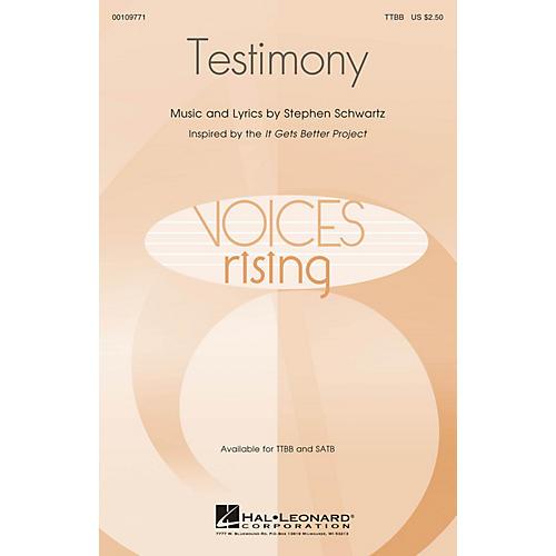 Hal Leonard Testimony TTBB composed by Stephen Schwartz