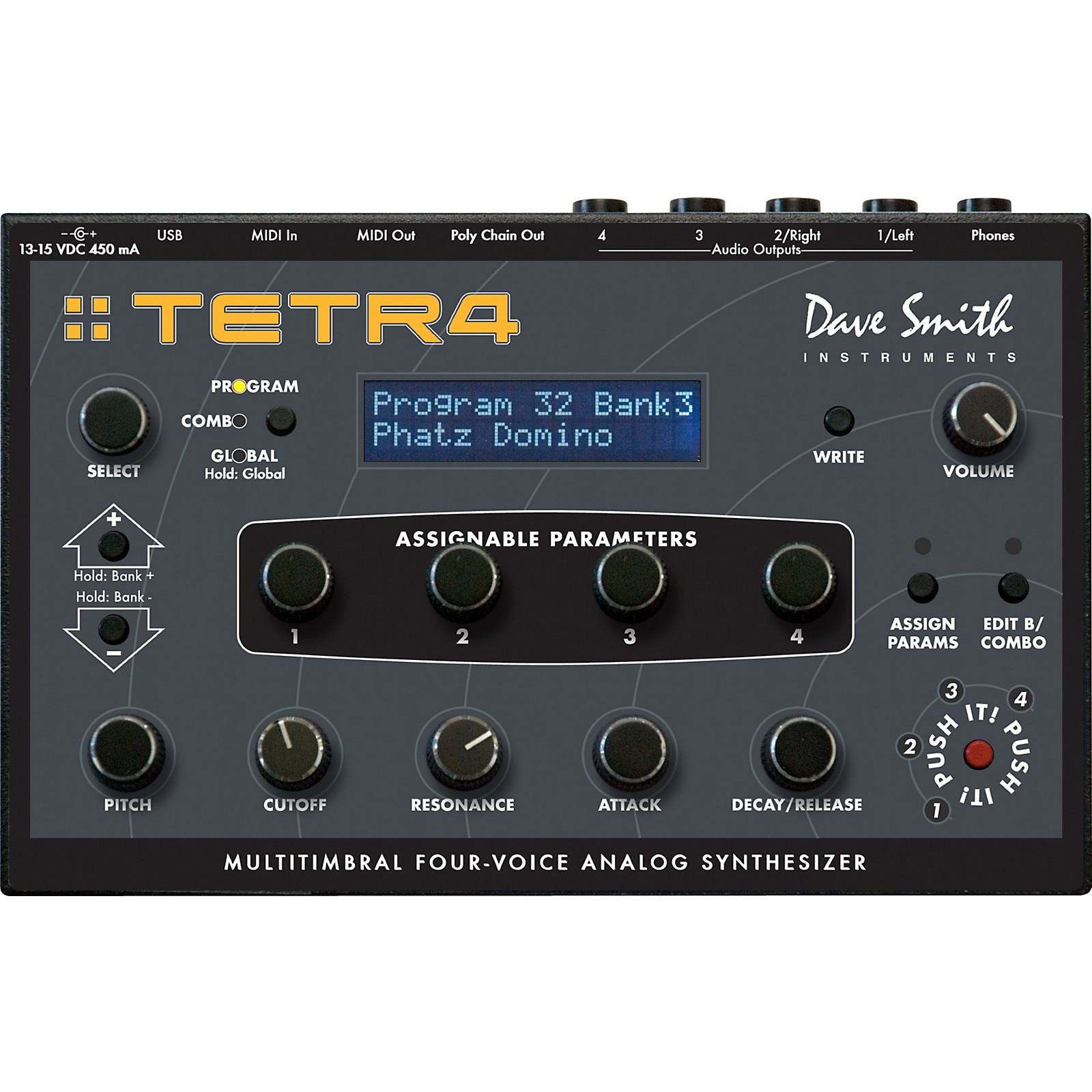 Sequential Tetra Multitimbral Four-Voice Analog Synthesizer