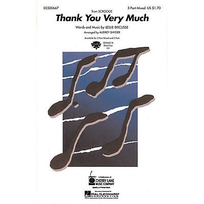 Cherry Lane Thank You Very Much 3-Part Mixed arranged by Audrey Snyder