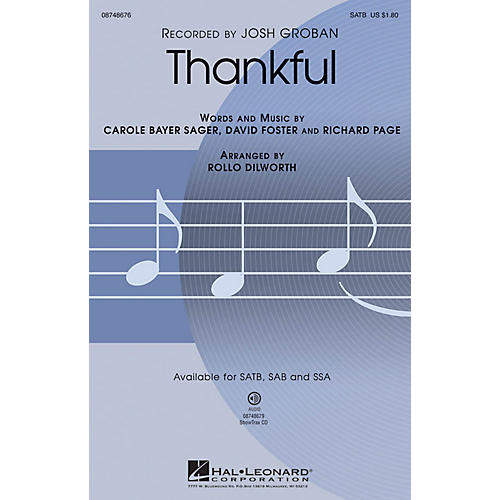 Hal Leonard Thankful SATB arranged by Rollo Dilworth