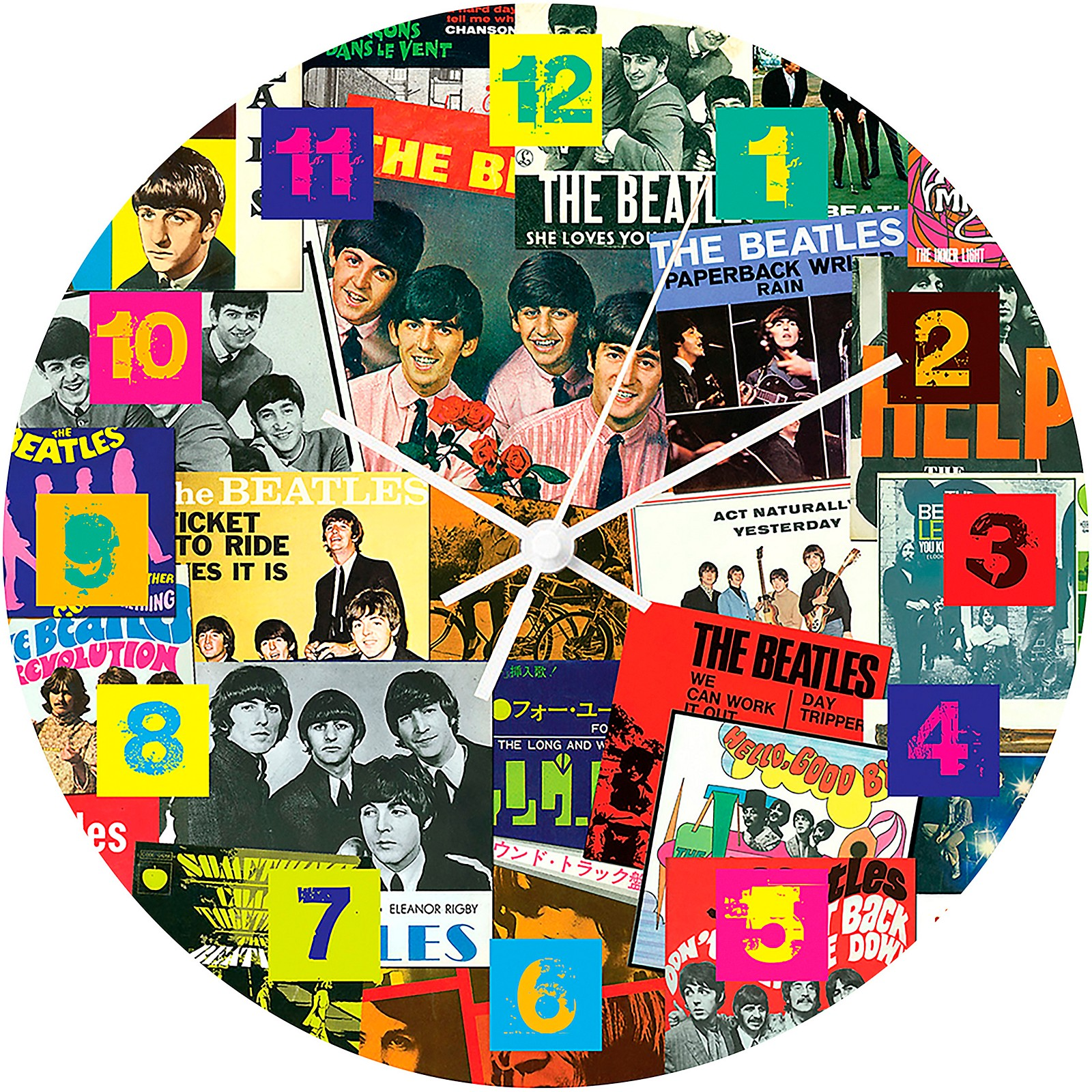 Vandor The Beatles Singles Collection 13.75 Cordless Wood Wall Clock