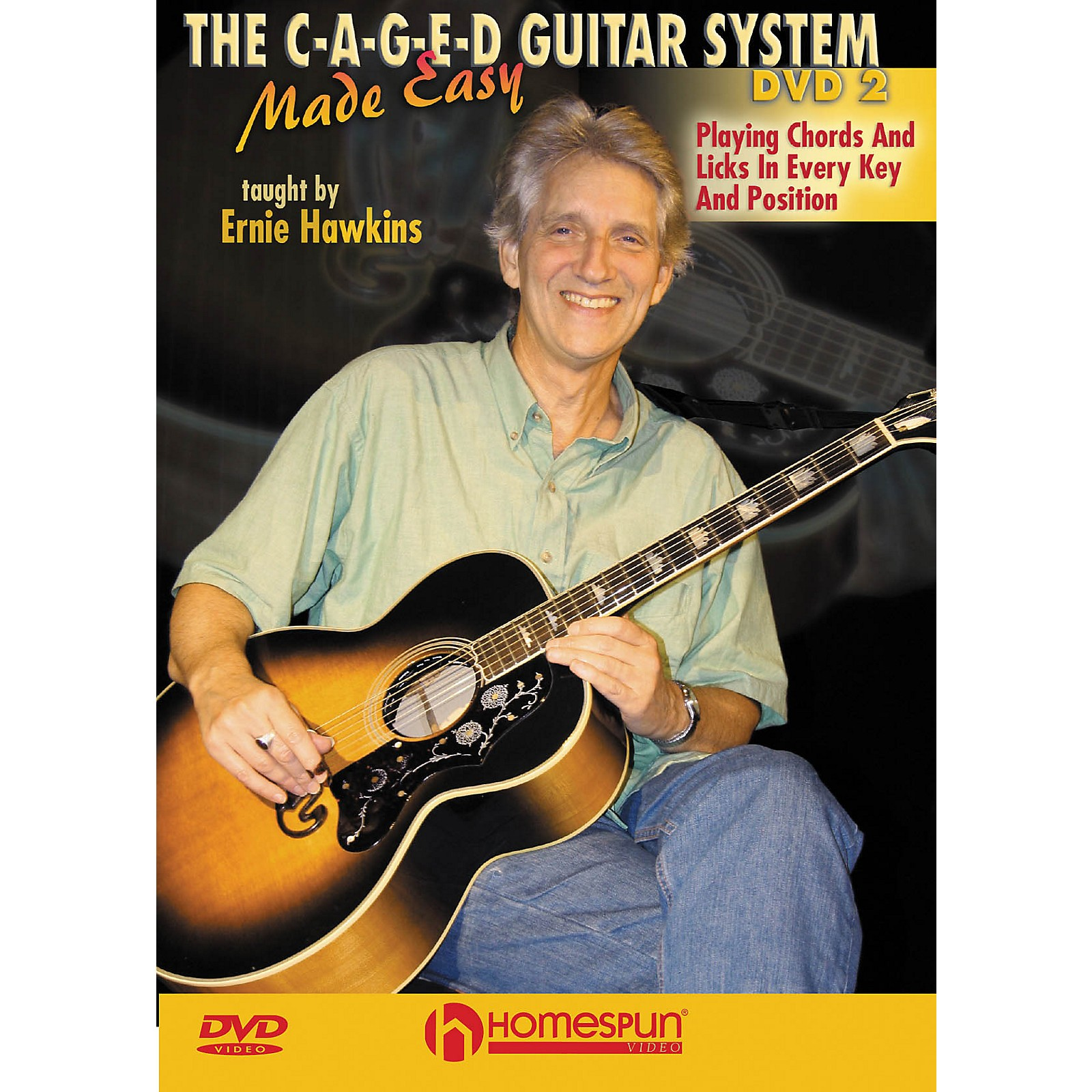 Homespun The C-A-G-E-D Guitar System Made Easy Instructional/Guitar/DVD Series DVD Performed by Ernie Hawkins