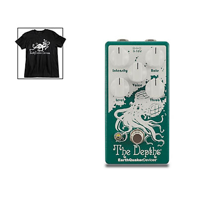 Earthquaker Devices The Depths V2 Optical Vibe Effects Pedal and Octoskull T-Shirt Large Black