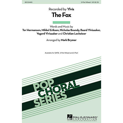 Hal Leonard The Fox 3-Part Mixed by Ylvis arranged by Mark Brymer
