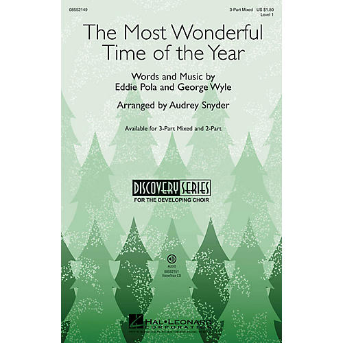 Hal Leonard The Most Wonderful Time of the Year (Discovery Level 1) VoiceTrax CD Arranged by Audrey Snyder