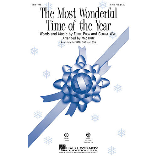 Hal Leonard The Most Wonderful Time of the Year SATB by Andy Williams arranged by Mac Huff