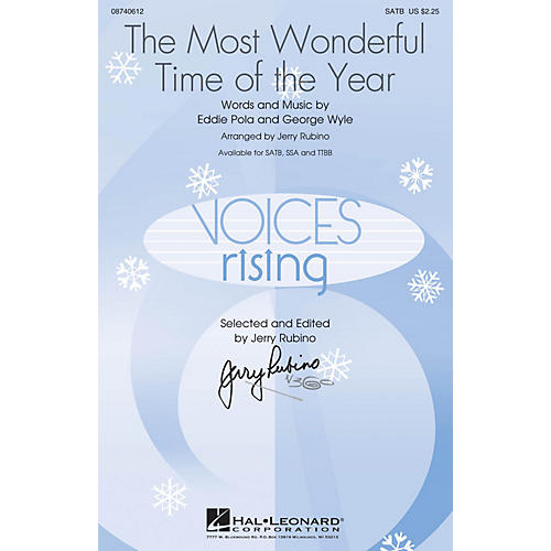 Hal Leonard The Most Wonderful Time of the Year SSA by Andy Williams Arranged by Jerry Rubino