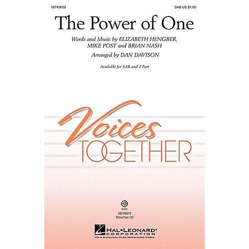 Hal Leonard The Power of One SAB arranged by Dan Davison