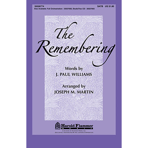 Shawnee Press The Remembering SATB arranged by Joseph Martin