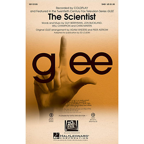 Hal Leonard The Scientist SAB by Glee Cast arranged by Adam Anders