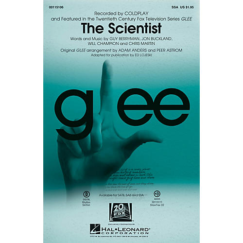 Hal Leonard The Scientist SSA by Glee Cast arranged by Adam Anders