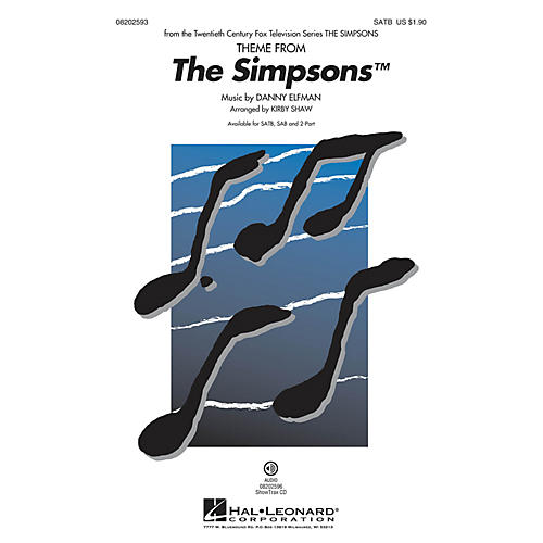 Hal Leonard The Simpsons (Theme) SATB arranged by Kirby Shaw