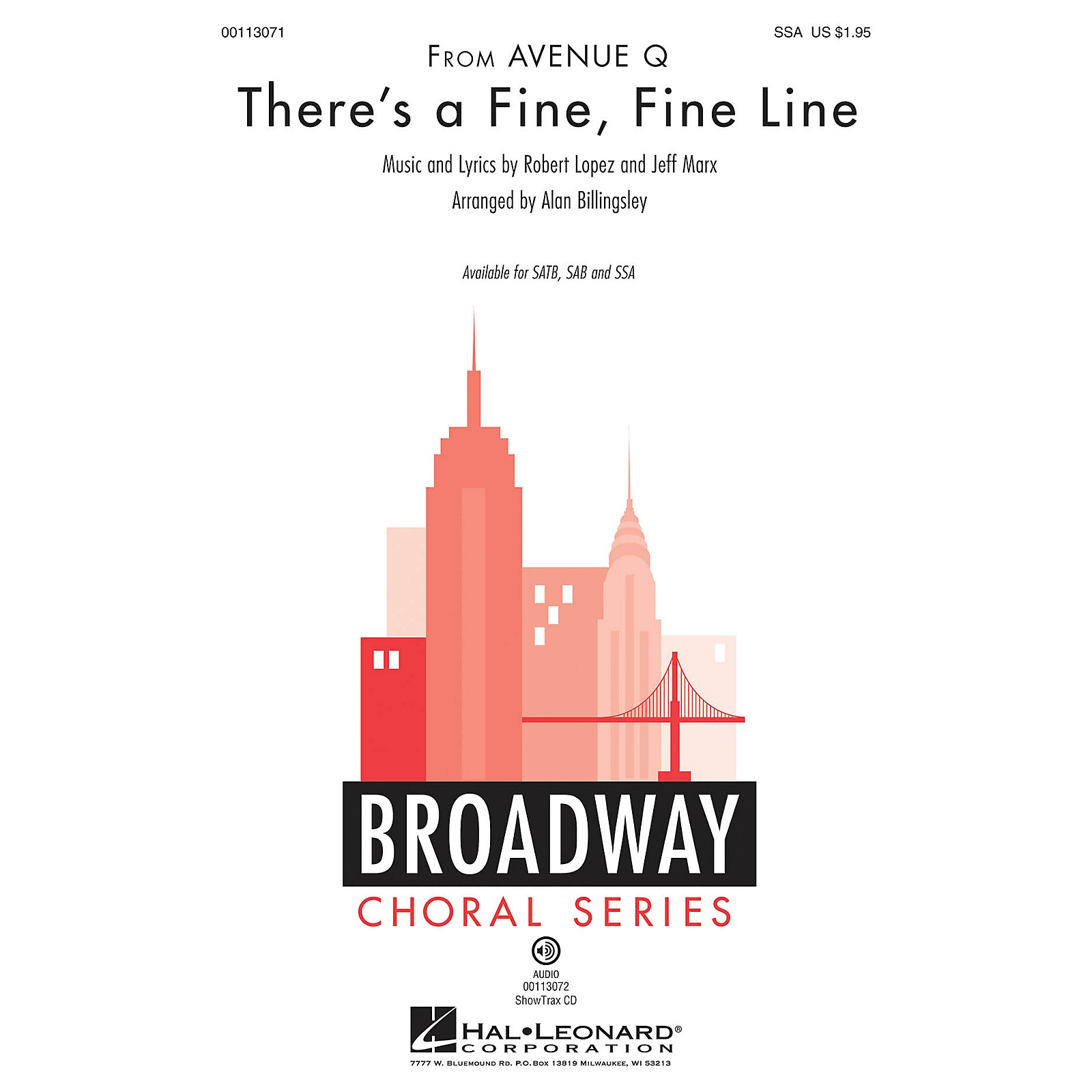 Hal Leonard There's a Fine, Fine Line (from Avenue Q) SSA by Avenue Q arranged by Alan Billingsley
