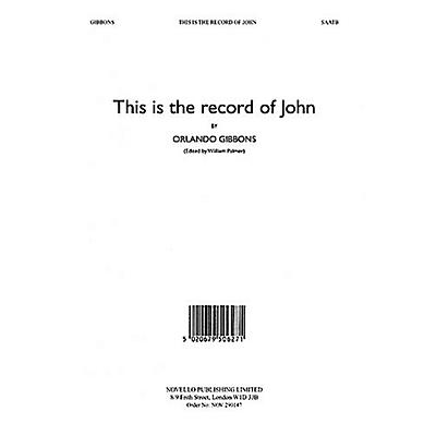 Novello This Is the Record of John (Alto Verse) SAATB Composed by Orlando Gibbons