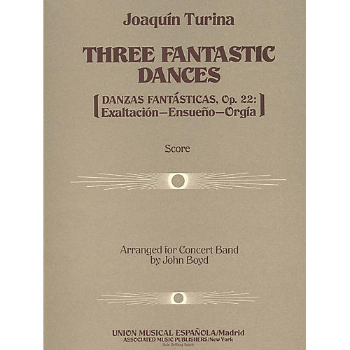 Associated Three (3) Fantastic Dances, Op. 22 (Score and Parts) Concert Band Level 4-5 Composed by Joaquin Turina