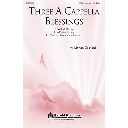 Shawnee Press Three A Cappella Blessings SATB a cappella composed by Marvin Gaspard