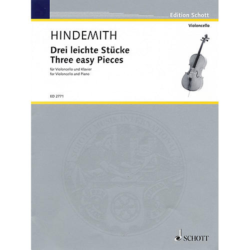 Schott Three Easy Pieces (Cello and Piano) Schott Series Composed by Paul Hindemith