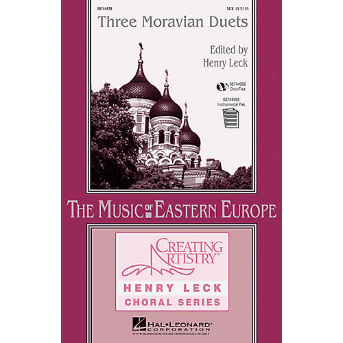 Hal Leonard Three Moravian Duets SATB composed by Antonín Dvorák