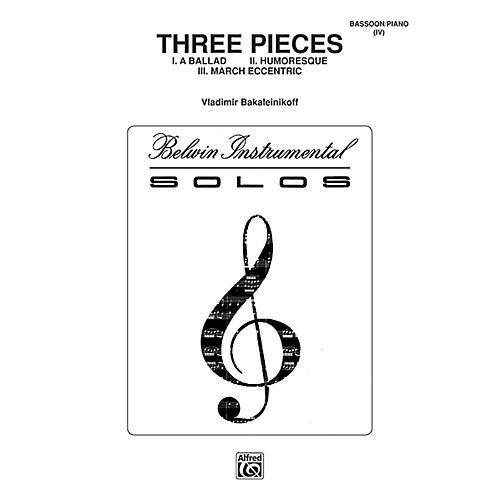 Alfred Three Pieces (Ballad, Humoresque, March Eccentric) for Bassoon By Vladimir Bakaleinikoff Book