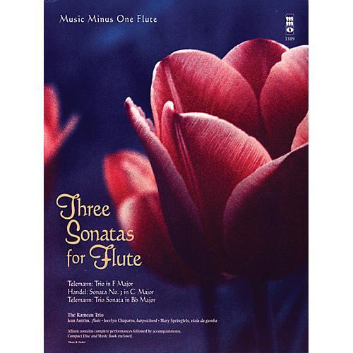 Music Minus One Three Sonatas for Flute Music Minus One Series Softcover with CD Composed by Various