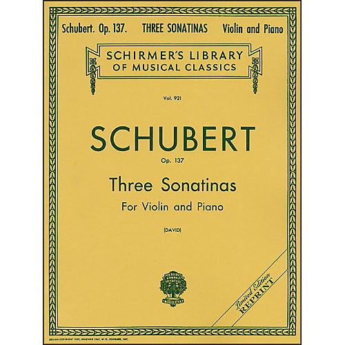 G. Schirmer Three Sonatinas Op 137 Violin/Piano 3 By Schubert