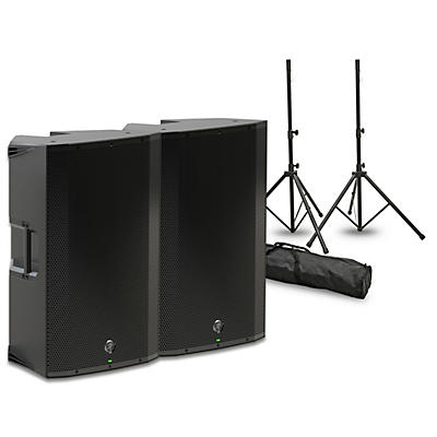 """Mackie Thump 15A 15"""" Powered Speaker Pair with Stands and Power Strip"""