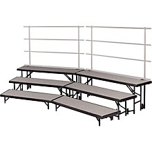 Tiered Tapered Standing Choral Risers 3 Level, Pewter Gray Carpet