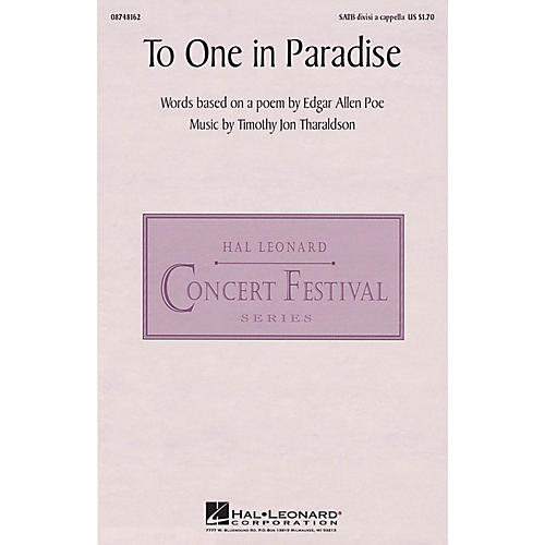 Hal Leonard To One in Paradise SATB DV A Cappella composed by Timothy Tharaldson