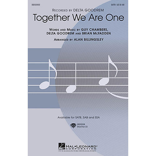 Hal Leonard Together We Are One SSA by Delta Goodrem Arranged by Alan Billingsley
