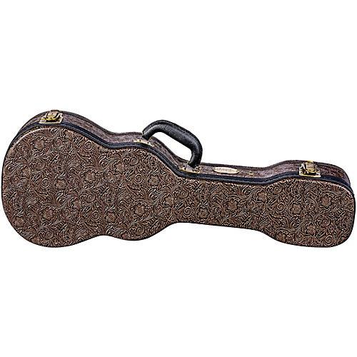Luna Guitars Tooled Leather Tenor Ukulele Hard Case Brown