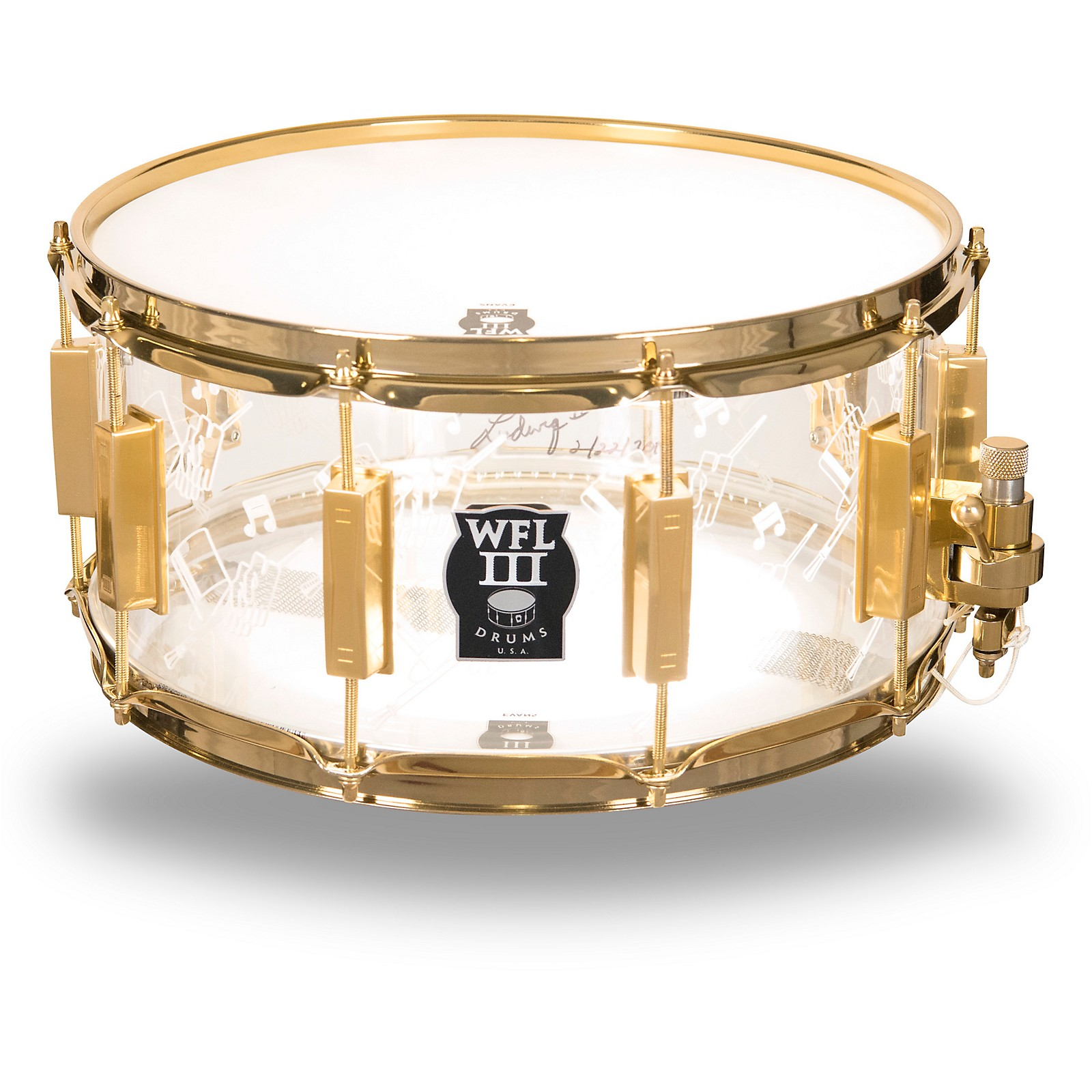 WFLIII Drums Top Hat and Cane Collector's Acrylic Snare Drum with Gold Hardware