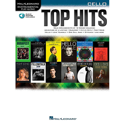 Hal Leonard Top Hits For Cello - Instrumental Play-Along Book/Online Audio