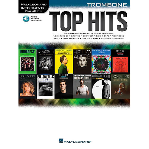 Hal Leonard Top Hits For Trombone - Instrumental Play-Along Book/Online Audio