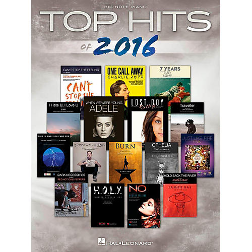 Hal Leonard Top Hits Of 2016 for Big-Note Piano